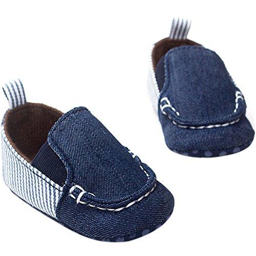 Fire Frog Baby Loafer Shoes - Zapatos primeros pasos de Lona para niño Azul