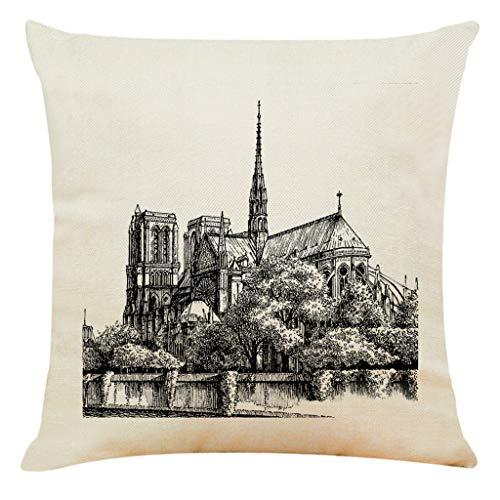 scamper Throw Pillow Case 45cm x 45cm, Home Decor Cushion Cover Paris Sacred Building Pillowcase Pillow Covers for Home, Office, Car, Cafe