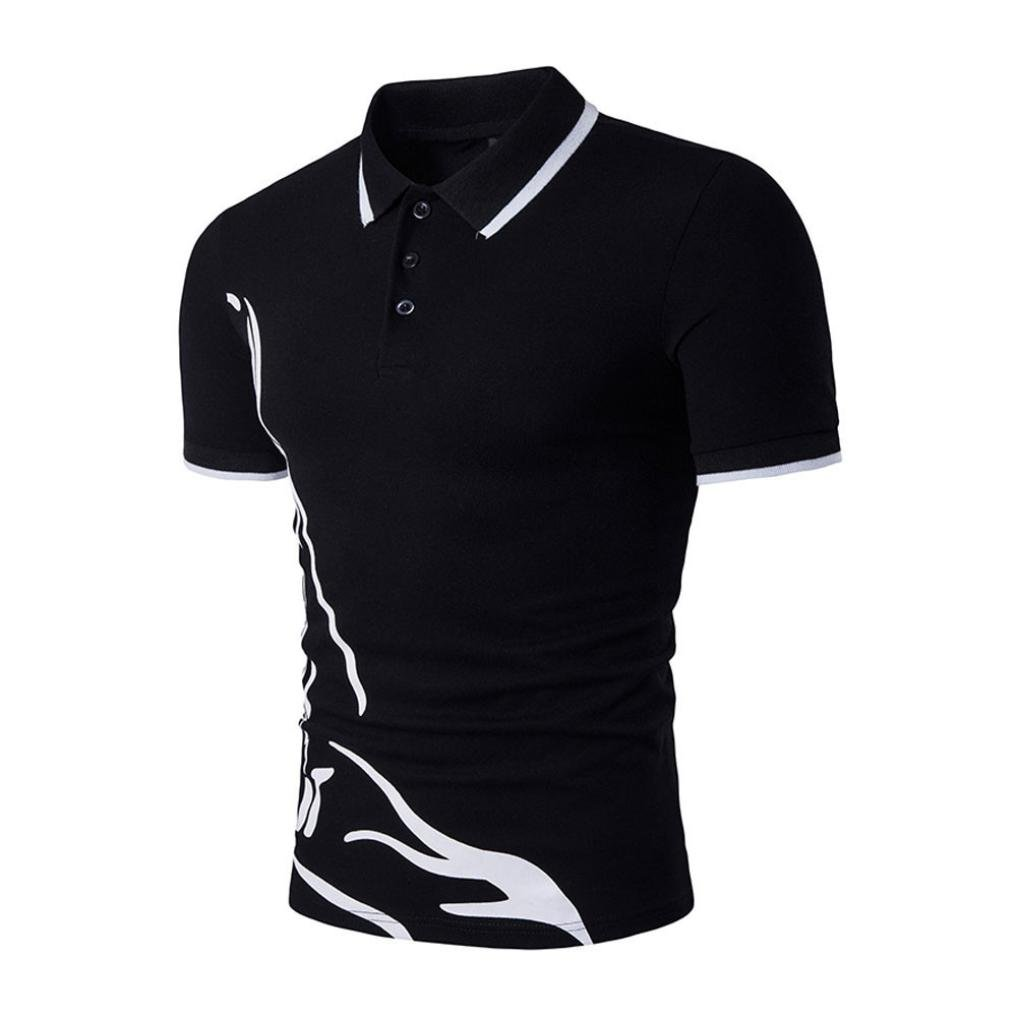 Charberry Fashion Mens Lapel Short-Sleeved T-Shirt Slim Sports Short Sleeve Casual Polo Shirt T-Shirts Tee Tops (US-L/CN-XL, Black)