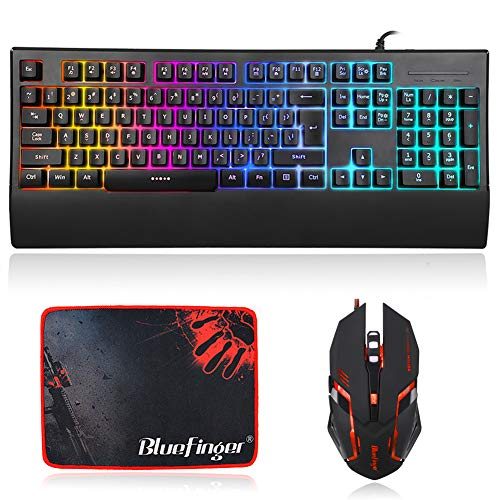 RGB Light up Keyboard and Mouse Combo,Rainbow Gamer Keyboard Mouse Combo,9 Kinds Backlit Keyboard with Wrist Rest Support, Gaming Mouse and Keyboard