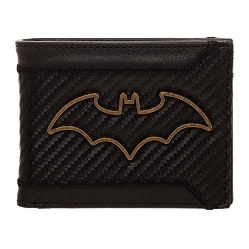 DC Comics Batman Carbon Fiber Metal Badge Bifold Wallet , Black , 3.25