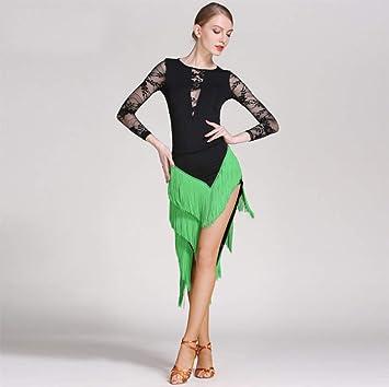DSDBWQ Falda de Baile Latino para Adultos Vestido de Baile ...