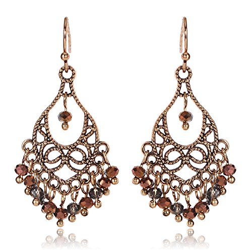 Newest trent Hollow Handmade Beaded Tassel Pendant Fish Hook Earrings for Women Ladies and Girls (#5) -