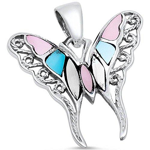 Filigree Swirl Butterfly Pendant Charm Simulated Multi Gemstone 925 Sterling Silver (24mm) (Butterfly Pendant Stone Multi)