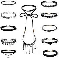 Hunputa 10pcs Jewelry Set Black Gothic Stretch Elastic Tattoo Velvet Choker Lace Collar Pendant Necklace