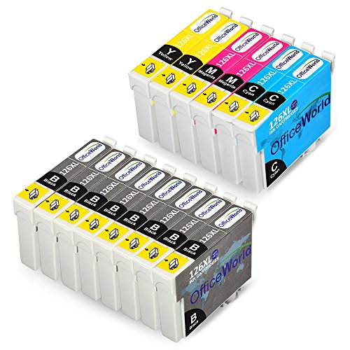 OfficeWorld 2 Sets+6BK Compatible Ink Cartridges for Epson 126XL ,Work with Epson Workforce 545 60 630 633 635 645 840 845 3520 3530 3540 7010 7510 7520 (No 14 Compatible Black Ink)