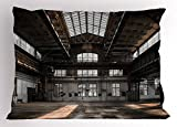 Ambesonne Industrial Decor Pillow Sham, Inside a Hangar Old Architecture Construction Urban Timeworn Windows, Decorative Standard Size Printed Pillowcase, 26 X 20 inches, Brown White Grey
