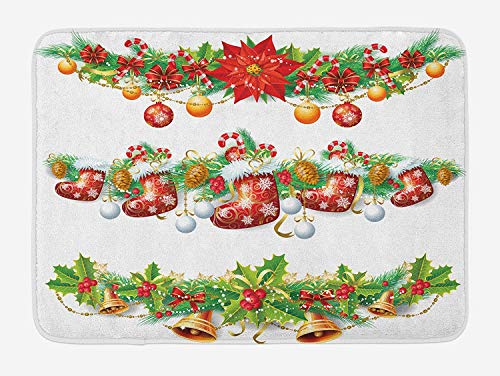 Weeosazg Christmas Bath Mat, Traditional Garland Designs with Flowers Socks and Bells Mistletoe Candy, Plush Bathroom Decor Mat with Non Slip Backing, 23.6 W X 15.7 W Inches, Orange Red - Welcome Bell Mickey