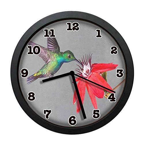(jiushiyigezi-n Hummingbird Adn Red Flower Individuality Modern Wall Clock, Silent Non-Ticking Quartz Wall Clock for Living Room School Office 10in with Frame)