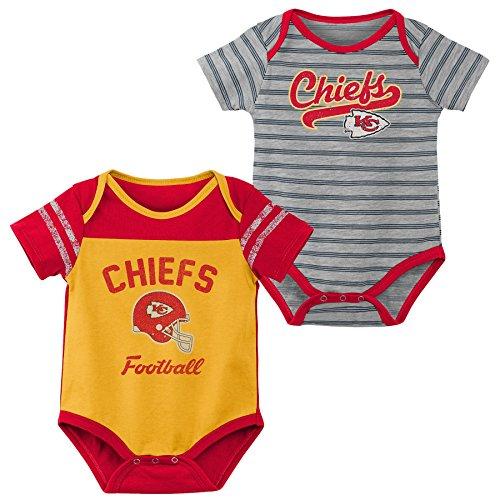 Outerstuff NFL NFL Kansas City Chiefs Newborn & Infant Dual-Action 2 Piece Bodysuit Set Gold, 24 Months