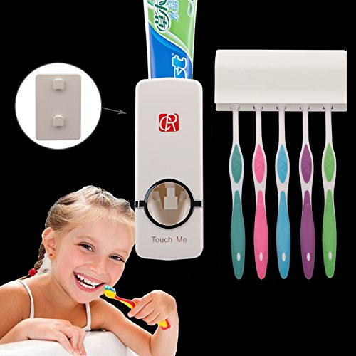 Price comparison product image RC Auto Toothpaste Dispenser, Hands Free Toothpaste Squeezer Wall-Mount Toothbrush Holders Bathroom Organizer with 2 Hooks, Sticks & Cleaning Brush White
