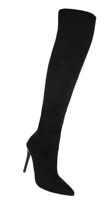 Schuhcity24 Damen Stiefel schlicht   Overknees Overknees Overknees Leder Optik ... d5b188
