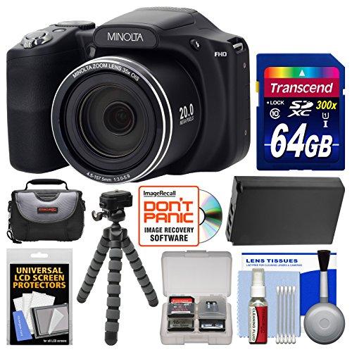 Minolta MN35Z 1080p 35x Zoom Wi-Fi Digital Camera (Black) with 64GB Card + Case + Battery + Flex Tripod + Kit