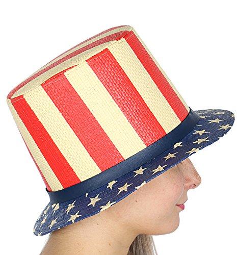 (American Flag Printed Paper Straw Uncle Sam Top Hat, Stripe Crown)