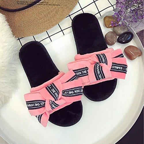 Lettre Rawdah Femme Plat Diapositives Flip Avec Tie Bow Chaussures Rouge Shoes Claquette Flop THxwvqWaC