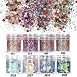 NICOLE DIARY 8Boxes Set 10ml Glitter Powder Tips Pink Purple Rose Red Colorful Ultra-thin 1mm 2mm 3mm Mixed Powder Nail Decoration