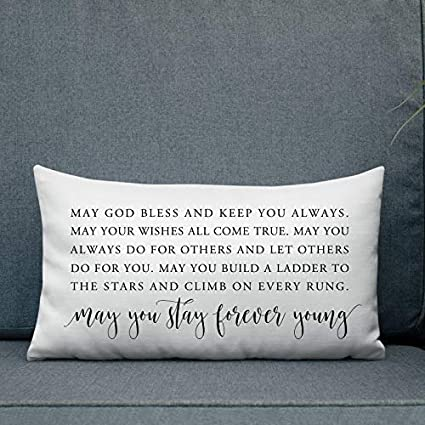 King65irginia Home Decor Gift May You Stay Forever Young Printable Song Lyrics Art Throw Pillow Cover Lyrics Pillow Cover Lyrics Cushion Neutral Nursery Art 12 X 20 Inch Pillowcase Home Decor