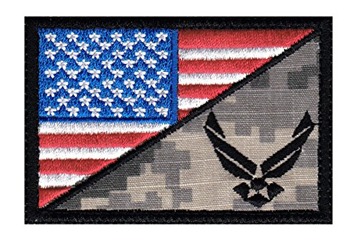 Air Force US Flag Half Tactical Morale Hook+Loop Patch (Air Force Patch)