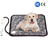 Pet Heating Pad FIROW Electric Heated Bed Warming Pad Outdoor Pet Bed Warmer For Dog House Heater Cat Puppy Animal Kitten Indoor Waterproof Adjustable Mat With Chew Resistant Cord Low Voltage Adapter