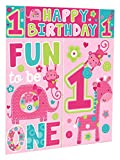 Amscan One Wild Girl 1st Birthday Scene Setter Wall Decorating Kit Pink Vinyl 59'' x 65'' Pack 5 Childrens Party (60 Piece)