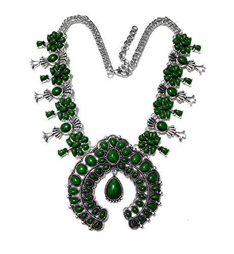 (Olsen Twins Boho Faux Stone Squash Blossom Necklace, Vintage Bohemian Turquoise Necklace Statement)