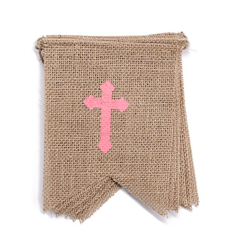 God Bless Pink Cross - dealzEpic - GOD BLESS with Pink Cross for Girl's Baby Shower Party or Baptism Decoration - Rustic Burlap Banner Bunting Garlands - Swallowtail Shaped Banners - 115 inches