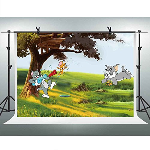 Tom and Jerry Play Backdrop 10x7ft Anime Green Tree Grassland Background Newborn Photography Wallpaper Decoration Photo Booth Studio Props FHZON LFFH009