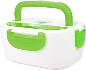 Electric Heating Lunch Box Portable Food Storage Container Food Warmer Heater for Home Office US Plug 110V(Green)