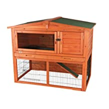 Trixie 62322 Rabbit Hutch with Attic, Large, Glazed Pine