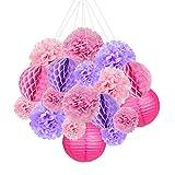 18pcs Hanging Party Tissue Lanterns Honeyball Paper Pom Poms Birthday Baby Shower Wedding Decoration (Pink Purple)