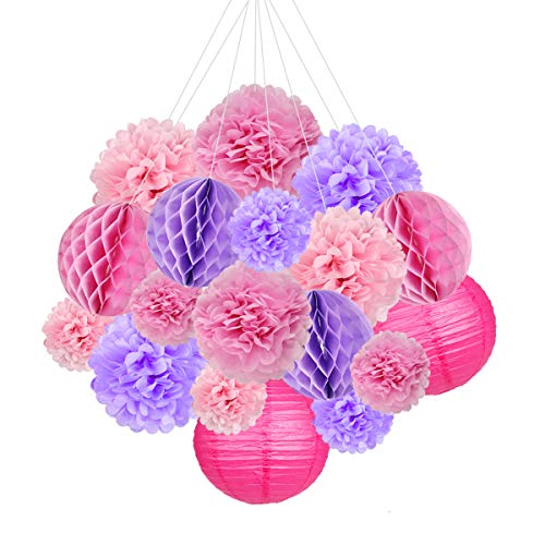 18pcs Pink Party Decorations Supplies Kit Pom Paper Flowers Paper Lanterns Honeycomb Balls for Wedding Birthday Baby Shower New Year Festival Party Decor ()