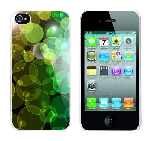 Iphone 4 Case Green Bubbles Rahmen weiss