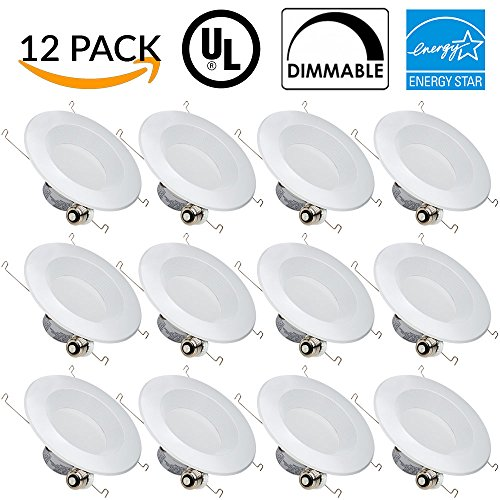 Ceiling New Construction Brackets (Sunco Lighting 12 PACK - 13W 5/6inch Dimmable LED Retrofit Recessed Lighting Fixture Baffle (=75W) 5000K Daylight White Energy Star, UL, LED Ceiling Light - 965 Lumens Recessed LED Downlight)