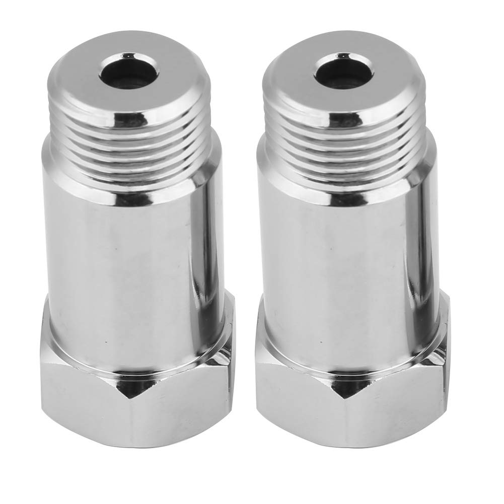KIMISS 2Pcs 45mm Check Engine Light Eliminator Adapter O2 Oxygen Sensor Extender Spacer Silver, M18*1.5