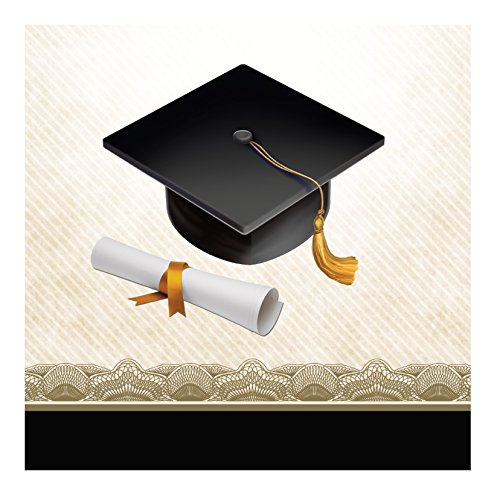 Gown Napkins - Creative Converting 16 Count Paper Beverage Napkins, Cap and Gown, Black/White/Gold