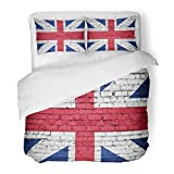 SanChic Duvet Cover Set London England Flag on Brick Wall English Abstract Country Decorative Bedding Set with 2 Pillow Shams Full/Queen Size