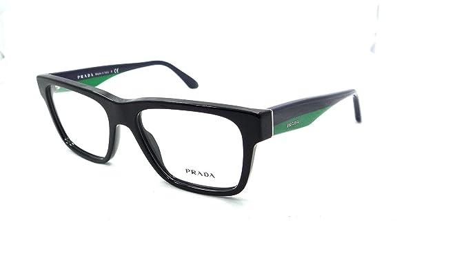 4c9ae9e339b0 Prada Rx Eyeglasses Frames Vpr 16r 1ab-1o1 53x16 Shiny Black Made In Italy   Amazon.co.uk  Clothing