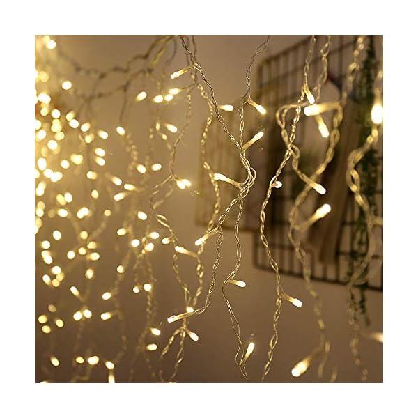 CREASHINE Tenda Luci LED 3 x 3 m, Tenda Luminosa Natale Esterno/Interno, Luci di Natale da Esterno con 8 Modalità di Illuminazione Natale Decorazioni Casa,Camera da Letto,Giardino 5 spesavip