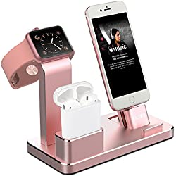 OLEBR Apple Watch Stand Aluminum Apple Watch Charging Stand AirPods Stand Charging Docks Holder for Apple Watch Series 3/2/1/ AirPods/ iPhone X/8/8Plus/7/7 Plus /6S /6S Plus/ iPad -Gold Rose