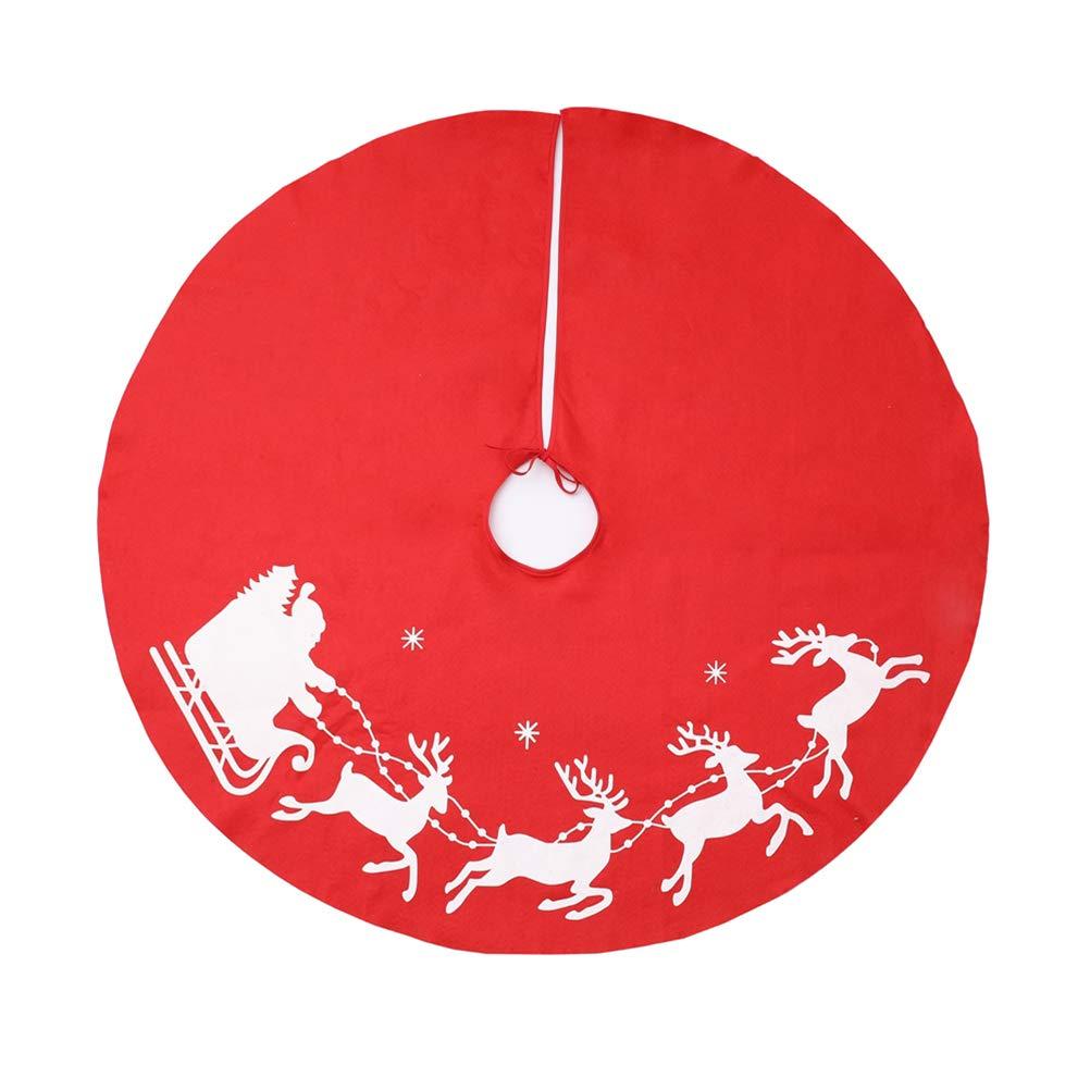 BESTOYARD Gonne per Alberi di Natale in Rosso Stanpa Alce per Decorazioni Festa di Natale 100cm