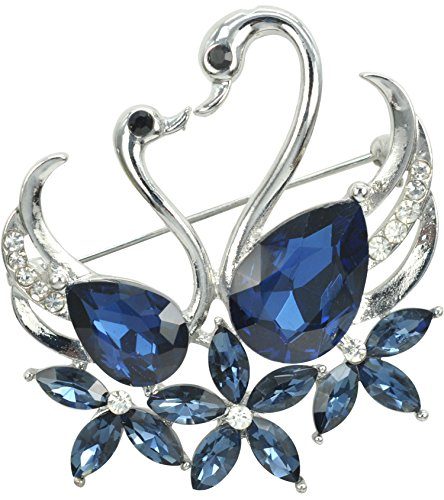 Sapphire Clip - Gyn&Joy Women's Blue Austrian Crystal Noble Swan Bridal Brooches Pins Corsages Scarf Clips BZ047
