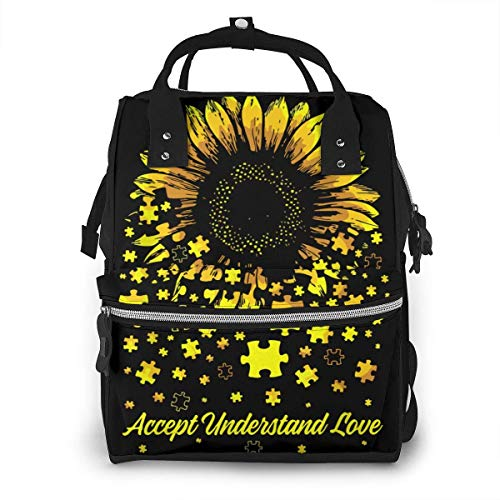 Sunflower Accept Understand Love Diaper Bags Baby Stuff Multi-Function Waterproof Travel Baby Bags for Mom Dad Large Capacity Insulation Travel Back Pack Nappy Bags Organizer