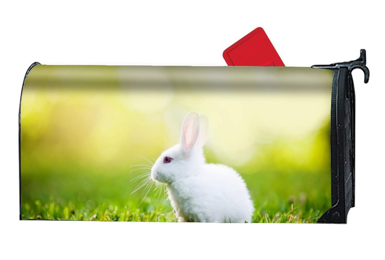 FunnyLife Mailbox Cover - White Rabbit Magnetic Mail Box Cover - Cylinder Packaged