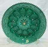 TIARA SPRUCE GREEN SANDWICH GLASS 12'' DEVILED EGG PLATE TRAY DISH PLATTER Never Used TIARA STICKER In Original Box