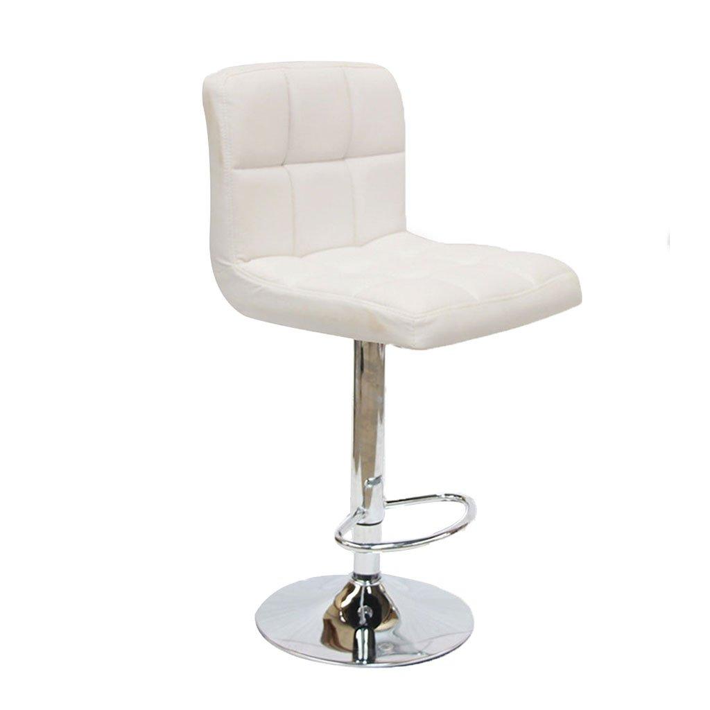 背もたれを備えたブレックファーストバースツール、360°回転ペダル調節可能なフェイクレザーキッチンチェア、6185 Cm高さ,White B07D7VHXTD White White