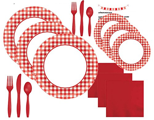 Paper Plates Red Checkered Gingham Party Supplies Set Kit Premium Dinnerware Picnic Red White Dinner Dessert Plates Napkins Cutlery Knives Forks Spoons Recipe Pack for 40 People (301 Pieces)