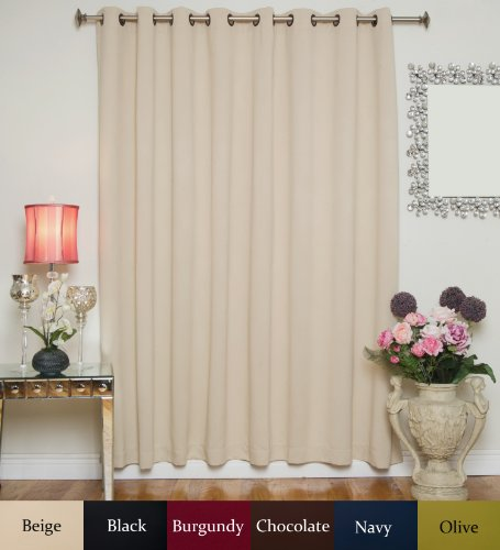 Beige Wide Width Antique Brass Grommet Top Thermal Insulated Blackout Curtain 100 Inch Wide By 84 Inch Long Panel (100 Curtain Wide Panels Inch)