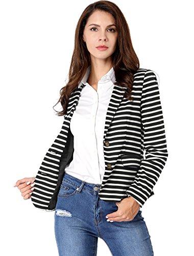 Allegra K Women's Notched Lapel Pocket Button Closure Striped Blazer 17