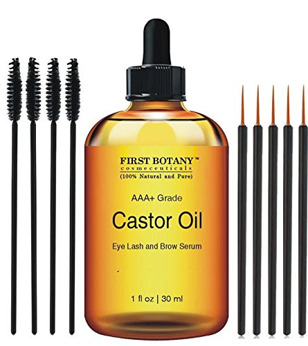 100% Pure Organic Castor Oil Hexane free - Great for Eyelashes, Hair, Eyebrows, Face and Skin, Hair Growth & Best Moisturizer for Skin & Hair with Treatment Applicator Kit, 1oz (30ml)