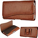 Premium Samsung Galaxy (S8 Plus), PU Leather Pouch Case Magnetic Closure Card ID Holder Holster Cover with Belt Clip & Loops Kaede [Screen Guard] Galaxy [S8 PLUS] (Brown)